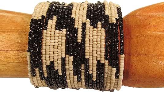 "Bali Bay Trading Company ""Laredo"" Color Inspired 2"" Wide Tribal Hand Beaded Cuff Bracelet"