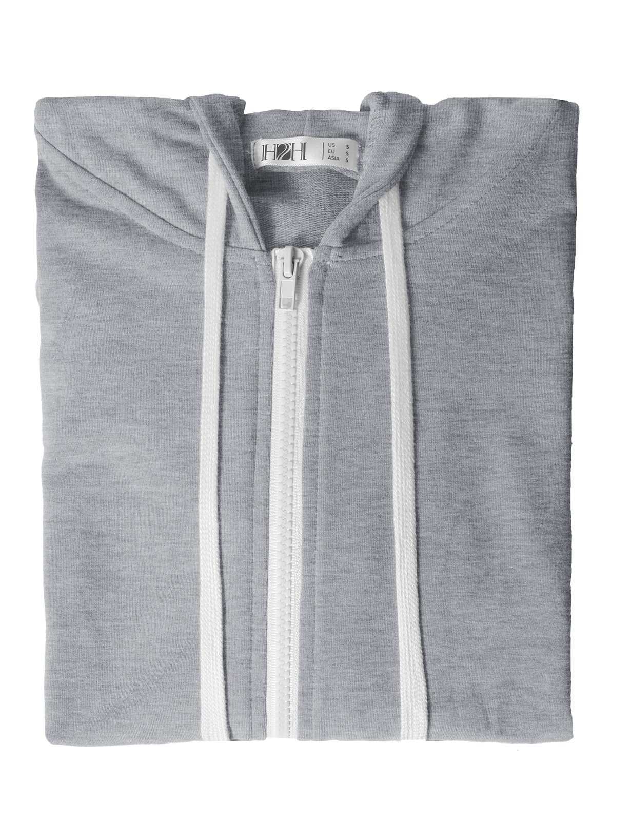 H2H Womens Soft Regular Fit Zip up Long Sleeve Fine Cotton Hoodie Jacket Gray US XS/Asia XS (CWOHOL020) by H2H (Image #6)