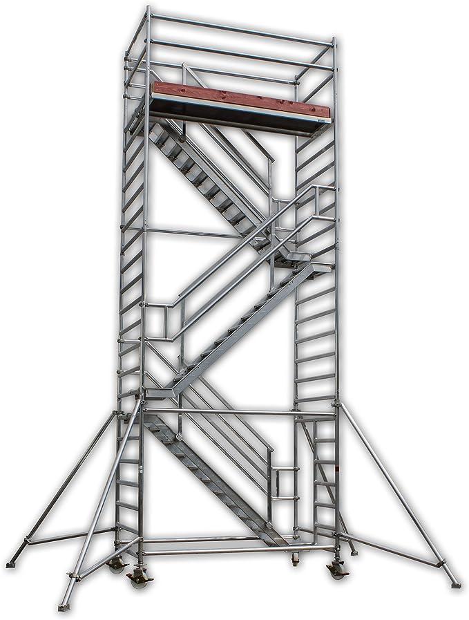 A&M Torre de escaleras, altura de trabajo 8,2 m contra carriles de aluminio, plegable, andamio, andamio, andamio, escaleras, escaleras, andamio, andamio, andamio universal, pata inclinada: Amazon.es: Bricolaje y herramientas