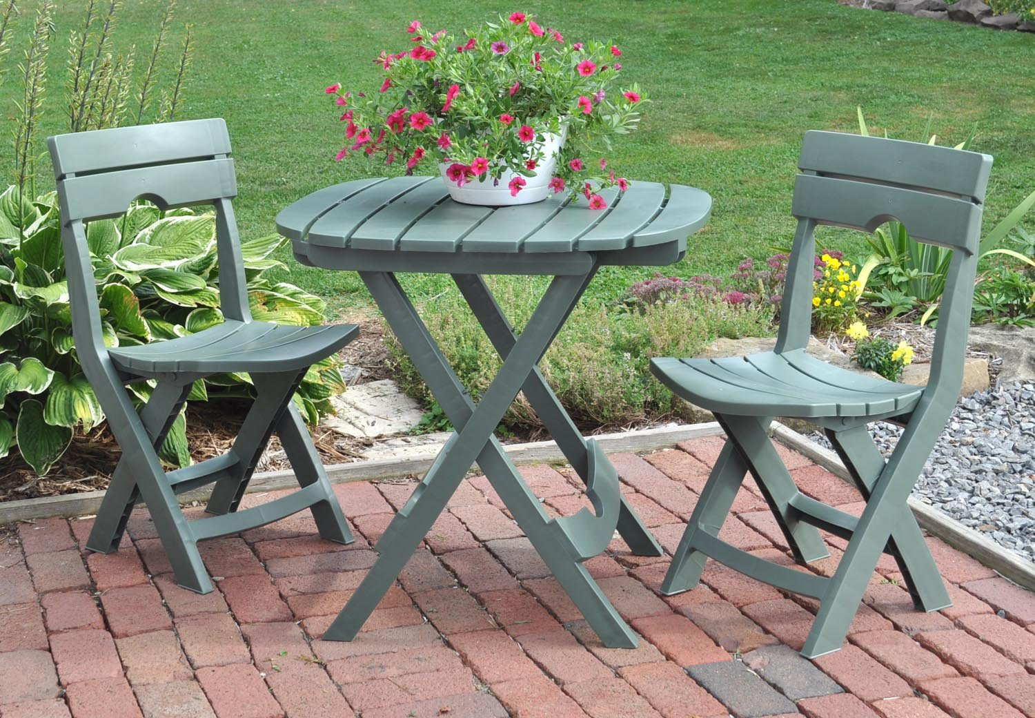 amazoncom adams manufacturing 8590 01 3731 quik fold cafe bistro set sage outdoor and patio furniture sets garden outdoor - Garden Furniture Table And Chairs