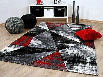 Designer Teppich Brilliant Rot Grau Magic In 5 Grossen Amazon De