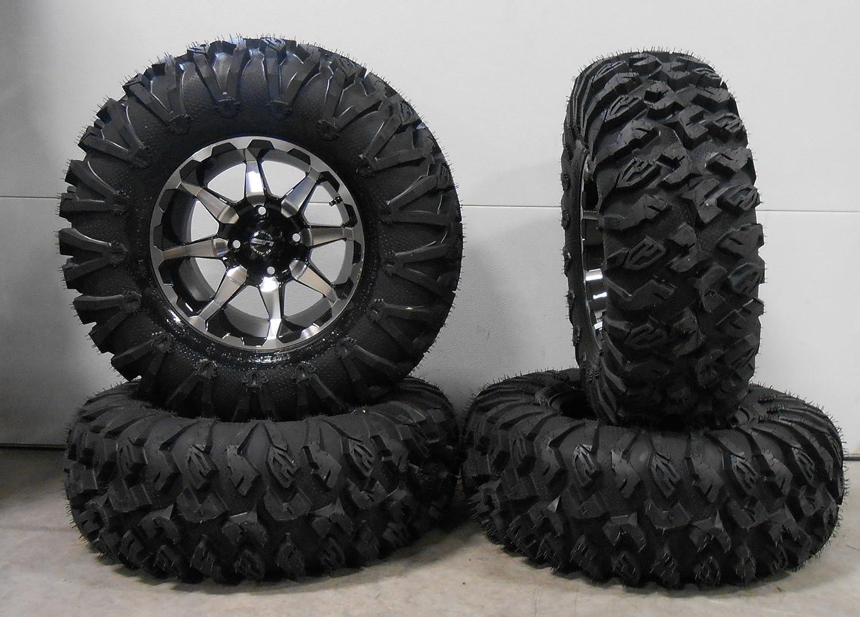 Bundle 4x156 Bolt Pattern 12mmx1.5 Lug Kit 9 Items STI HD6 14 Wheels Machined 30 EFX MotoClaw Tires