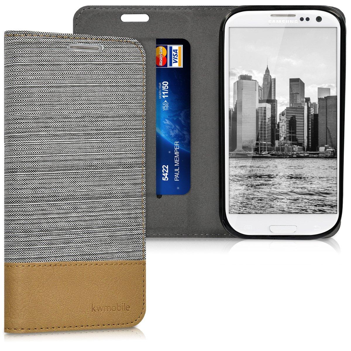 kwmobile Funda compatible con Samsung Galaxy S3 / S3 Neo-Carcasa de tela y cuero sintético con soporte en gris claro / marrón