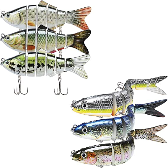 """TRUSCEND Fishing Lures for Bass 4.9/"""" Multi Jointed Swimbaits Slow Sinking Hard"""