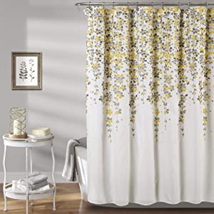 "Lush Decor Weeping Flower Shower Curtain - Fabric Floral Vine Print Design 72"" x 72"" Yellow and Gray"
