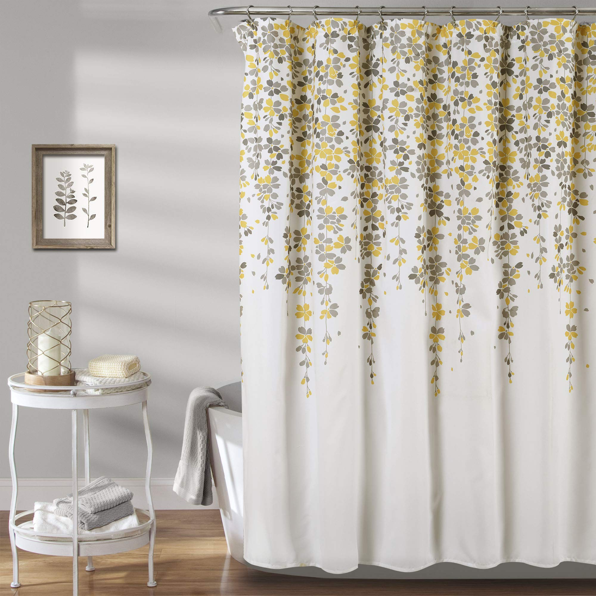 """Lush Decor Weeping Flower Shower Curtain - Fabric Floral Vine Print Design, 72"""" x 72"""", Yellow and Gray"""