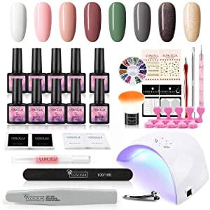 Gel Nail Polish Starter Kit with 36W U V LED Light Nail Lamp Dryer Soak Off Gel Nail Polish Nude Colors Base Top Coat Nail Manicure Tools Set for Nail Art Home DIY or Salon Use