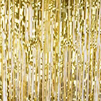 DODOING 3.2ft x 9.8ft Wedding Party Decoration Shiny Metallic Foil Fringe Tinsel Rain Curtain Photo Booth Backdrop Background for Birthday Party Christmas New Years Eve Bridal Baby Shower Decorations