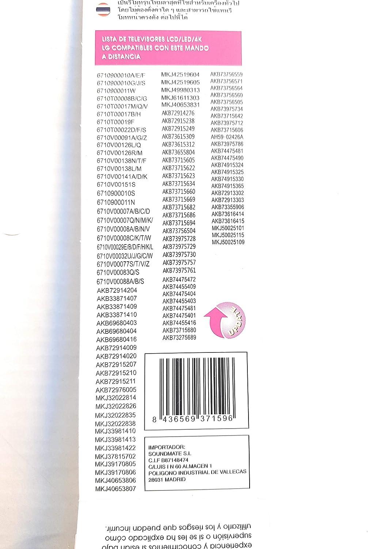 ValmoniSport Mando a Distancia Compatible con televisores LG LCD LED 4K DVTECH DV-MLG: Amazon.es: Electrónica