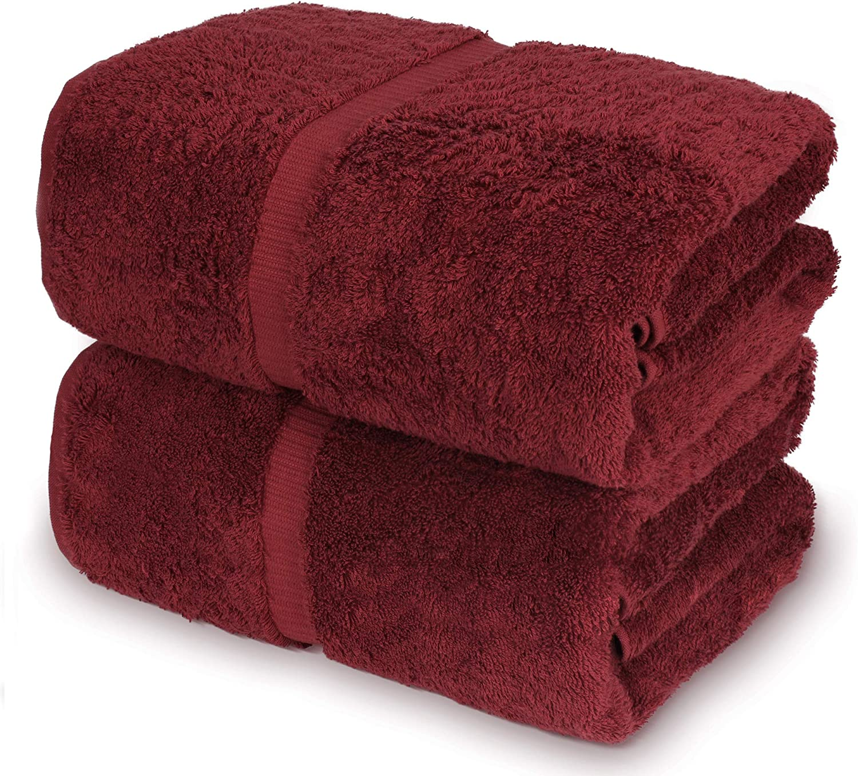 Towel Bazaar 100% Turkish Cotton Bath Sheets, 700 GSM, 35 x 70 Inch, Eco-Friendly (2 Pack, Cranberry)…