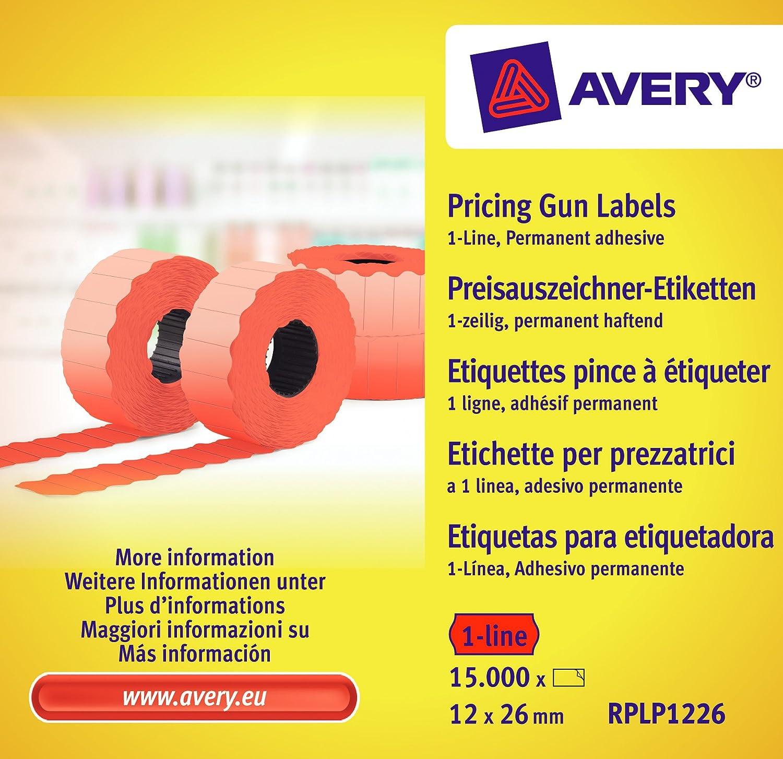 Avery RPLP1226 etichette per macchina etichettatura (15.000, 1 linee, 12 x 26 mm) 10 rotoli colore rosso Avery Tico Srl