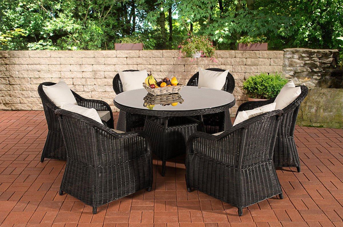 CLP Poly-Rattan Sitzgruppe STAVANGER, Esstisch rund Ø 130 cm, 6 Gartensessel Bezugfarbe cremeweiß, Rattan Farbe schwarz