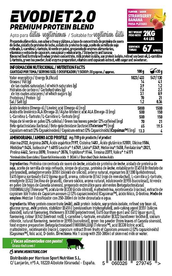 Evodiet de HSN Sports | Batido de Proteinas para Adelgazar, con Té Verde, Carnitina, Efecto Termogénico (Quemagrasas), Mantener Masa Muscular, ...