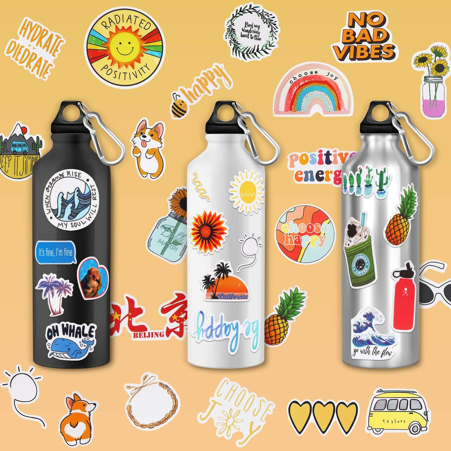 Outus 76 Pieces Water Bottle VSCO Stickers Waterproof Aesthetic Stickers Vinyl Stickers Decals Girls Teens Decals for Laptop Cars Luggage and Guitar Phone