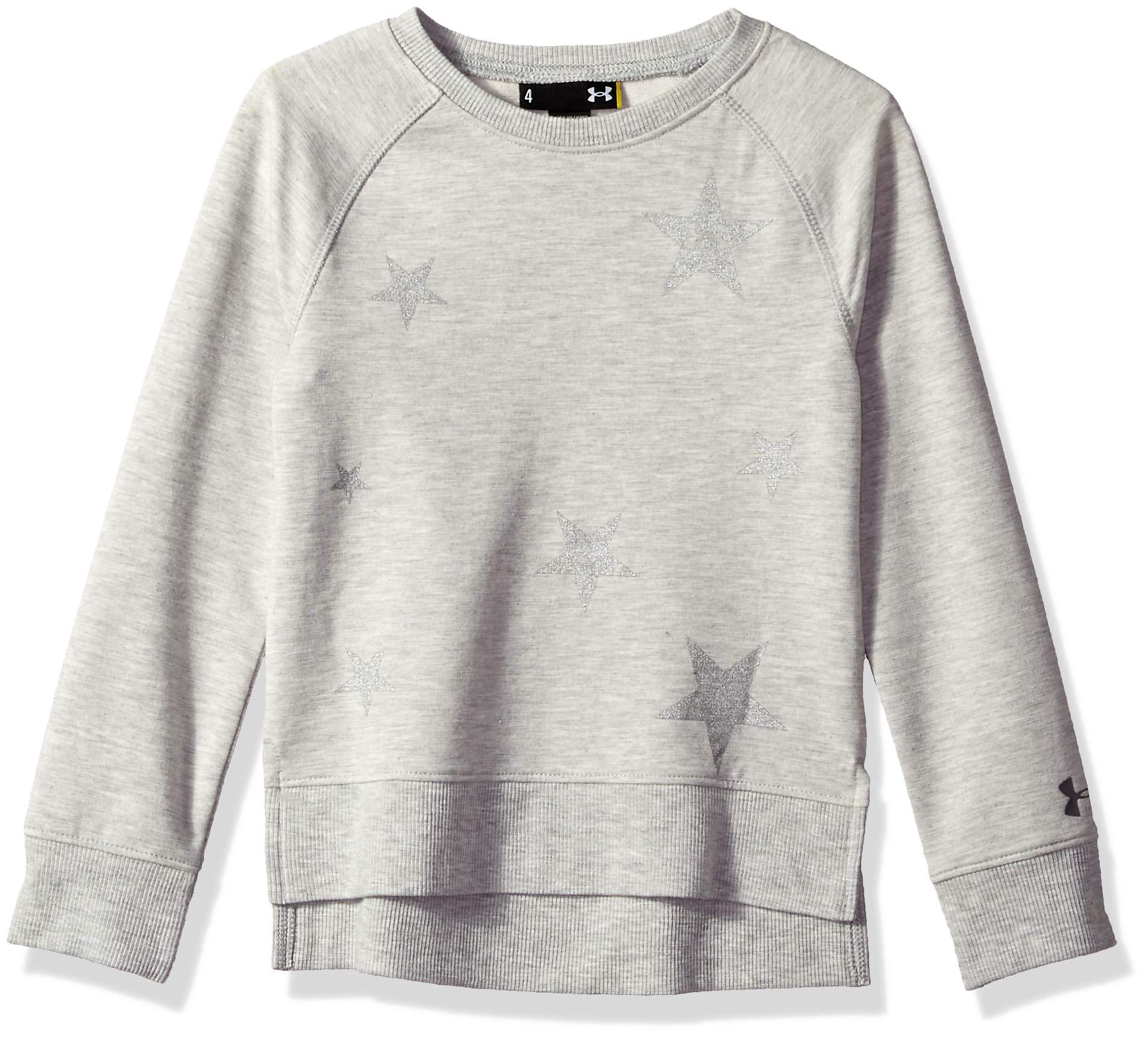 Under Armour Girls' Little Fashion Pullover Sweater, True Grey Heath, 6 by Under Armour
