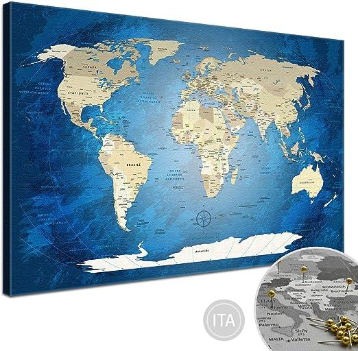 LanaKK - Mapamundi con Corcho para Fijar los destinos - Mapa del Mundo Océano Azul - Italiano - Lámina sobre Bastidor Camilla en Azul, Enmarcado en una Parte de 100 x 70 cm: Amazon.es: Hogar