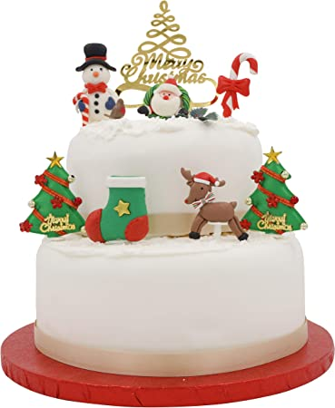 Plastic Merry Christmas Xmas Cupcake Cake Yule Decorations Toppers