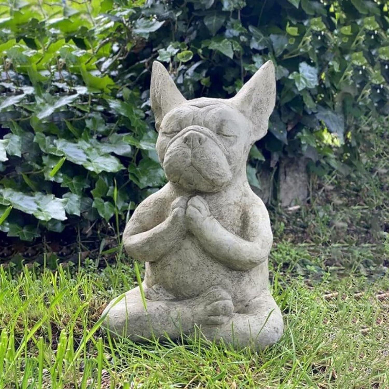 French Bulldog Garden Statue, Meditating Sitting French Bull Dog, French Bulldog Statue Outdoor, Dog Statue Resin Zen Animal Yoga Figurine, for Flower Beds Lawn Garden Decor