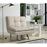 Unmatchable Luxurious Modern Fabric Sofa Bed or Recliner Chair with Chrome Legs, AVAILABLE in 5 Colours, Padded for Extra Comfort (Cream, 93cm x 89cm x 84cm)