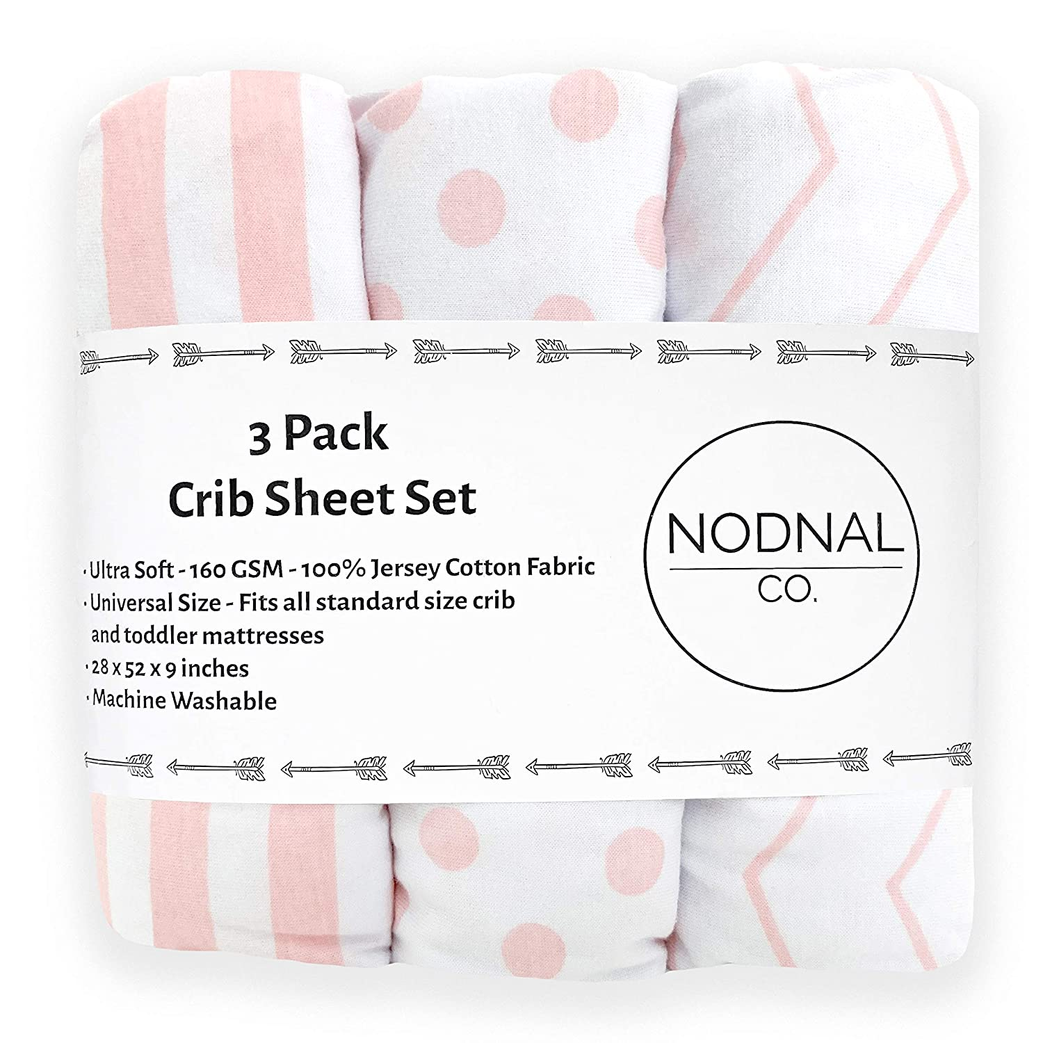 NODNAL CO. Pink Fitted Crib Sheets Set 3 Pack Standard Baby or Toddler Mattress Jersey Knit Cotton Girl Nursery Bedding - Chevron, Polka Dot, Stripe 160 GSM Full Size Crib Sheet