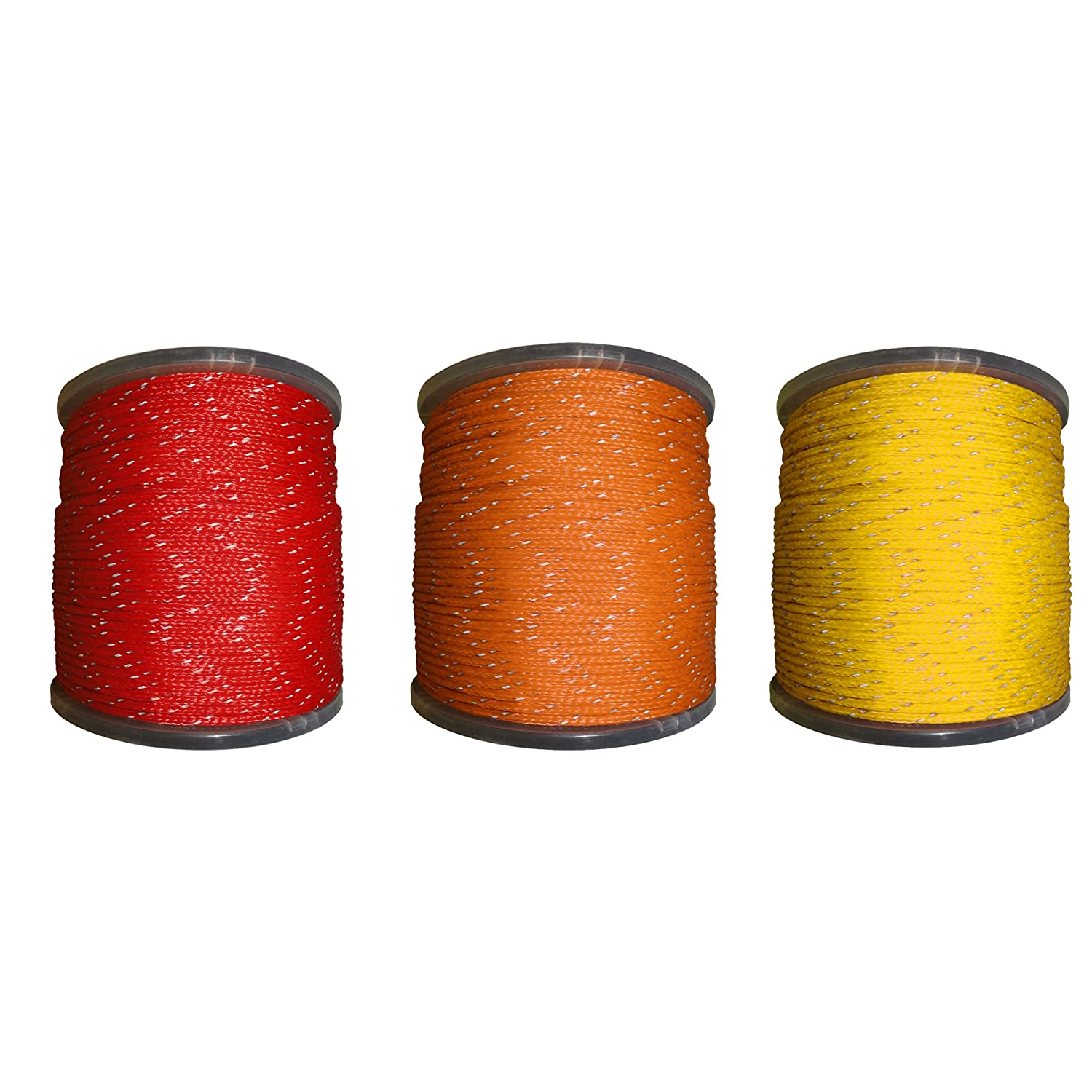 Hollow Braid Polyethylene Rope Outdoor Concerts Ski Slopes 100/% High-Grade Polyethylene Cord with Reflective Tracers Path Marking Crafting - SGT KNOTS 3//8 inch 100 feet - Coil - Yellow