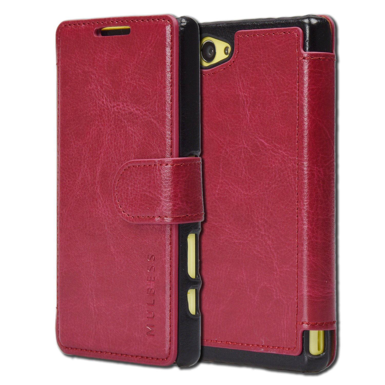 check out 72fff 0204c Sony Xperia Z5 Compact Case Wallet - Mulbess [Layered Dandy][Wine Red] -  [Slim][Wallet Case] - Premium Leather Flip Case With Credit Card Slot for  ...