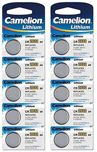 Camelion Paquete de 10 Pilas de botón de litio 3 V, DL2032/5004LC ...