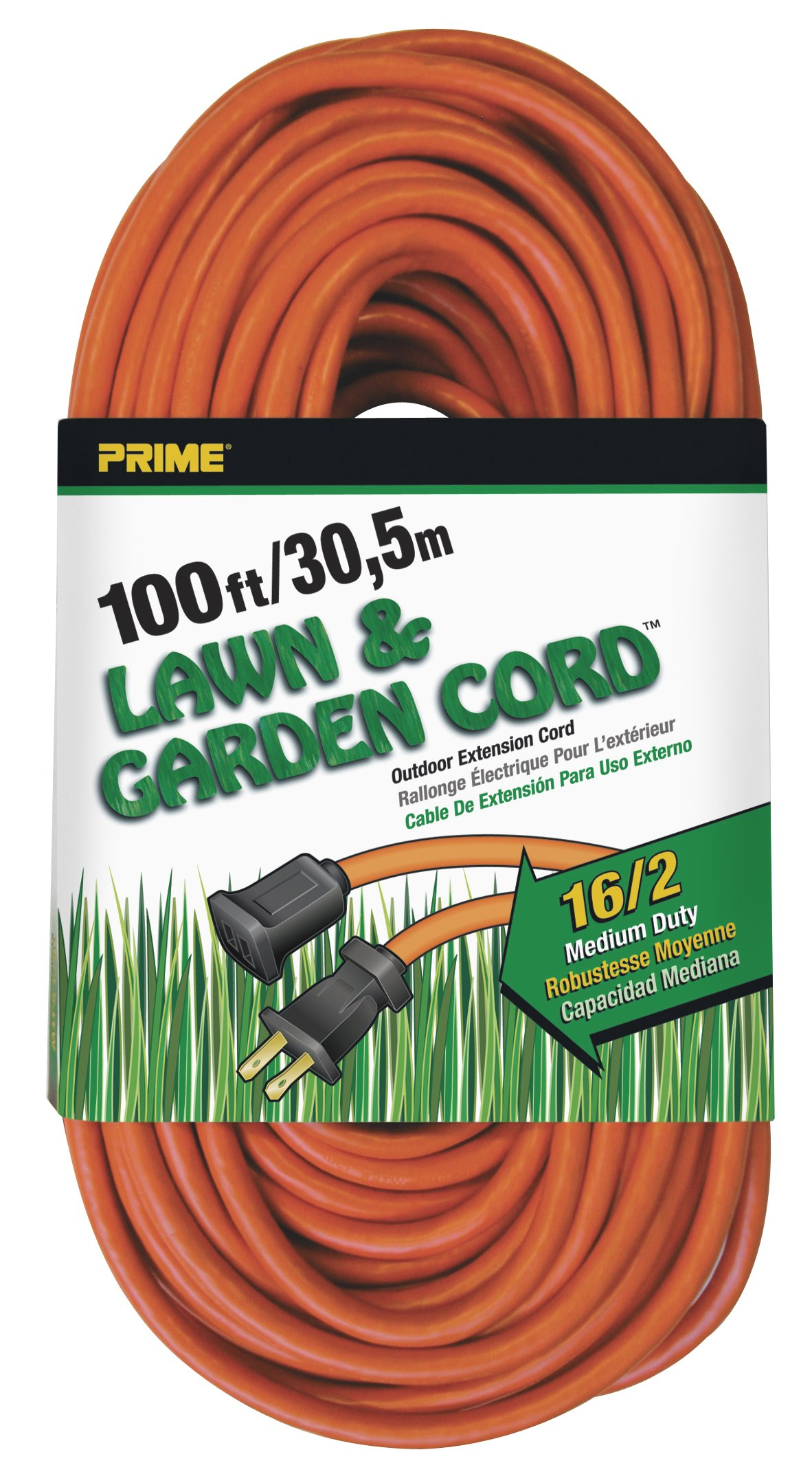 Prime Wire & Cable EC481635 100-Foot 16/2 SJTW Lawn and Garden Outdoor Extension Cord, Orange