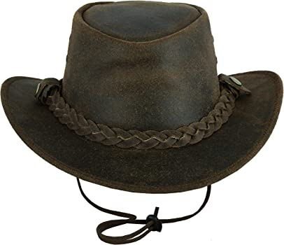 Western Aussie Style Real Crazy Horse Leather Cowboy Hat with Chin Strap