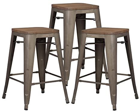 Admirable Poly And Bark Trattoria 24 Industrial Metal Counter Bar Stool With Elmwood Seat Bronze Set Of 3 Ibusinesslaw Wood Chair Design Ideas Ibusinesslaworg