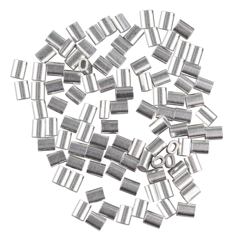 fusd 100 PCS Kabel Draht 1,0 mm Seil Aluminium Oval geformte Ärmel ...