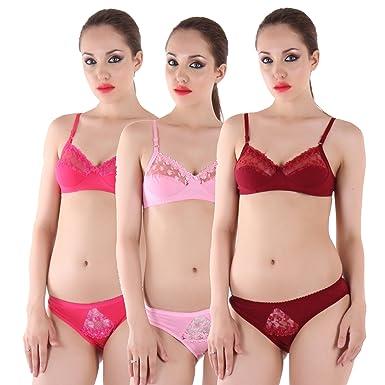 732743c25e In Beauty Women s Cotton Bra and Panty Set