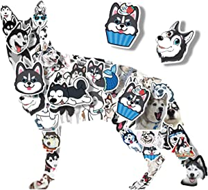 Stickers for Kids - Waterproof Husky Animal Stickers Pack for Water Bottle Laptop Bike DIY, Personalised Stickers for Girls and Boys