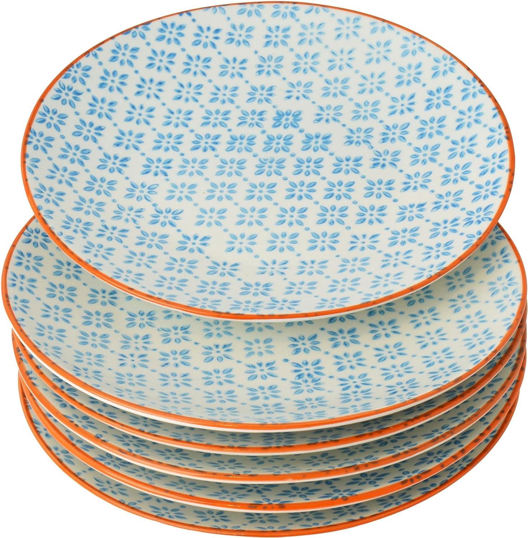 Petites assiettes à gâteau/dessert ornées de motifs - 180 mm - imprimé bleu/orange - lot de 6 Nicola Spring
