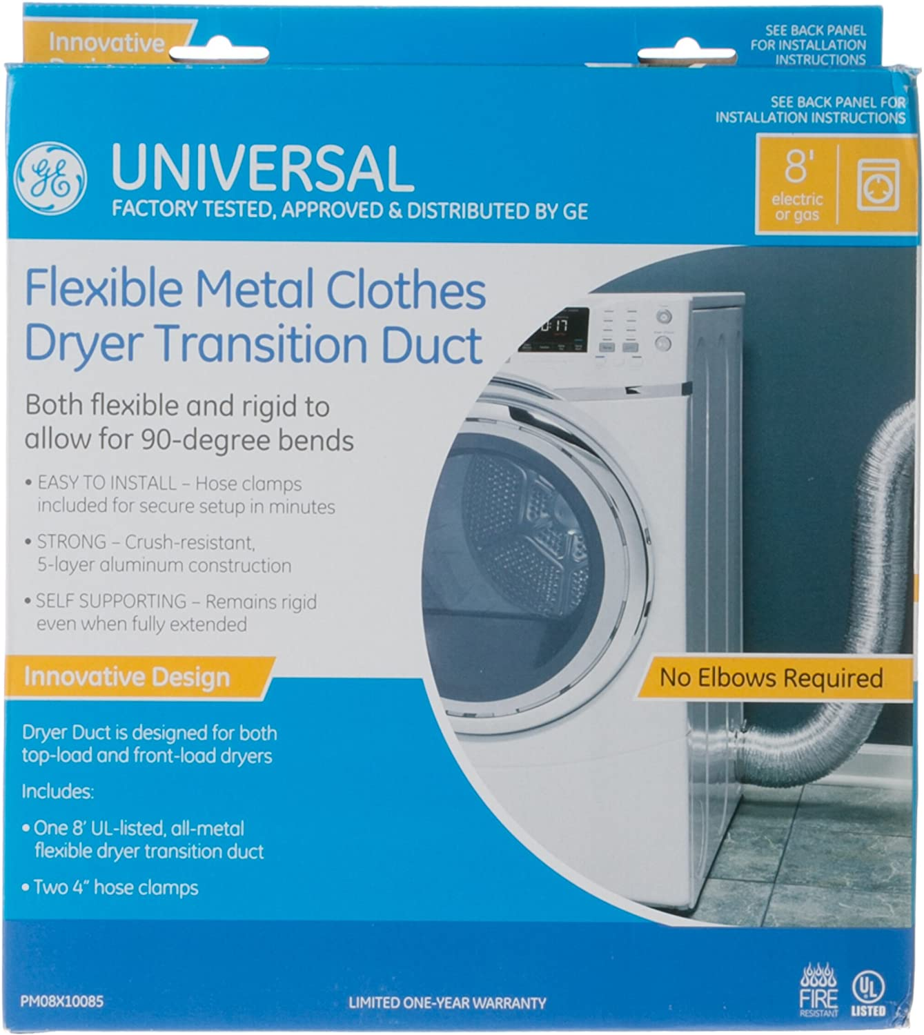 General Electric PM08X10085 Semi-Rigid Clothes Dryer Duct Kit, 4-Inch x 8-Feet