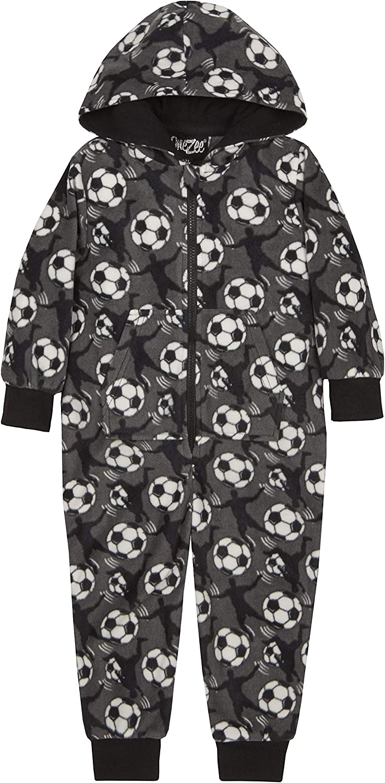 Boys Football Design Fleece Hooded Onesie Grey