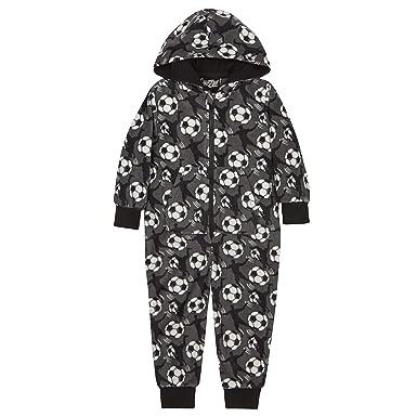 Onezee Jungen Fussball Overall Schlafanzug Pyjama Grau
