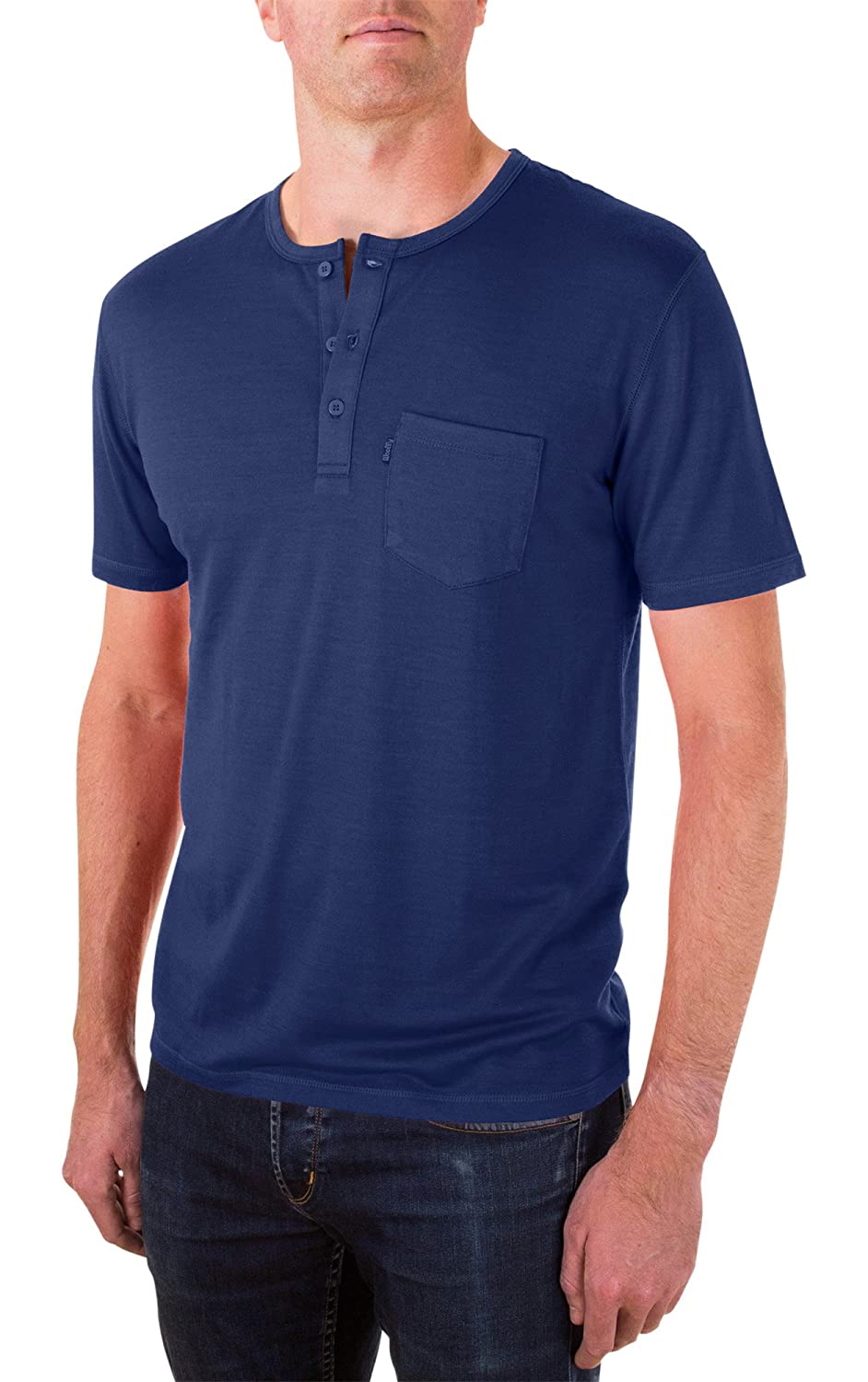 Woolly Clothing Men's Merino Wool Henley Tee Shirt - Everyday Weight - Wicking Breathable Anti-Odor henley-short-parent