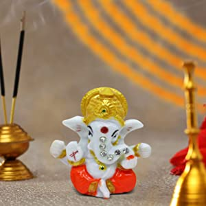 TIED RIBBONS Mini Ganesha Statue Sculpture Idol for Car Dashboard Home Temple Decor (2 X 2.3 Inch, L X H)
