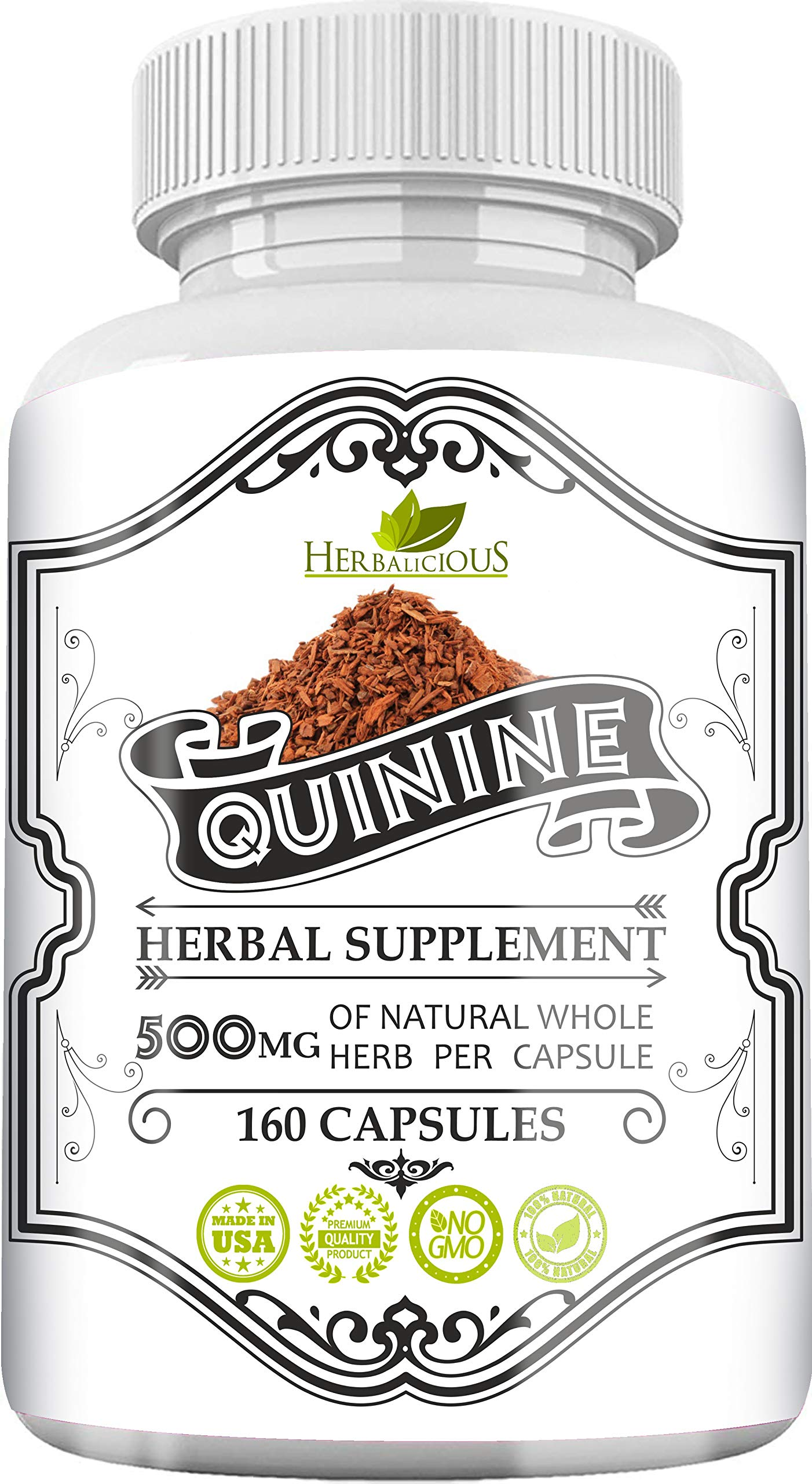 HERBALICIOUS Quinine Capsules - Cinchona Officinalis Bark Herbal Supplement for Leg Cramping Relief, Cramp Defense and Overall Digestive Health - All-Natural Quinine Sulfate Pills, 500mg, 160 Tablets