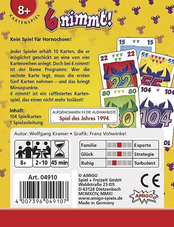 Amigo Spiele, 6 nimmt! Juego de cartas: Kramer, Wolfgang: Amazon ...