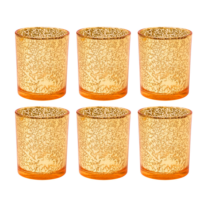 Portacandele del vetro, portacandele per il tè, portacandele per la casa e matrimonio, arancione (una serie di 6pezzi) SWE BL13044-S6