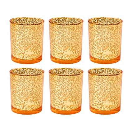 8ebbc22858 Romingo Glass Candleholder,Tealight Candleholder, Candle Holders for Your  Home & Wedding Decoration,Orange, Pack of 6: Amazon.co.uk: Kitchen & Home