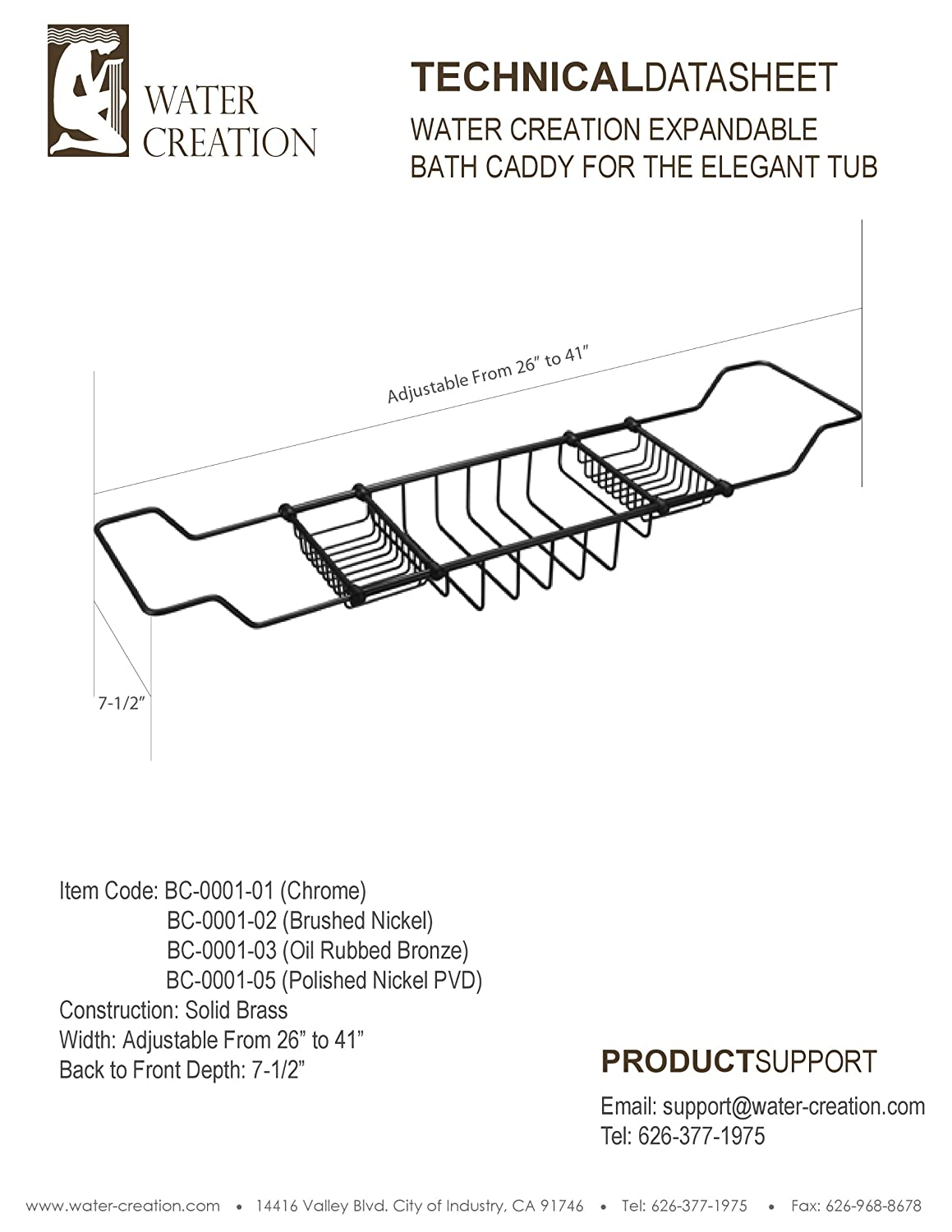 Water Creation BC-0001-03 Expandable Bath Caddy for The Elegant Tub ...