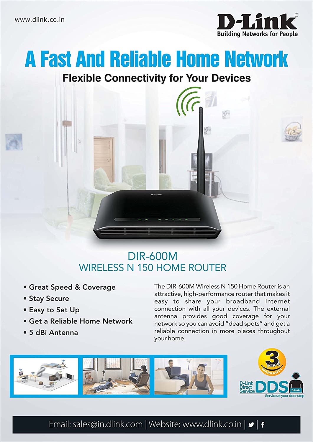 D-Link Dir-600M N150 Broadband Wireless Router (Not a Modem)