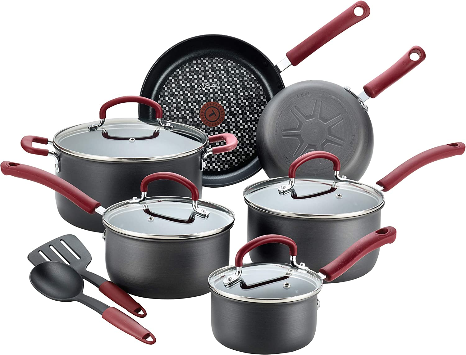 T-fal B004SC63 Ultimate Hard Anodized Cookware Set, 12-Piece, Red