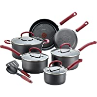 T-fal B004SC63 Ultimate Hard Anodized Dishwasher Safe Nonstick Cookware Set, 12-Piece, Red