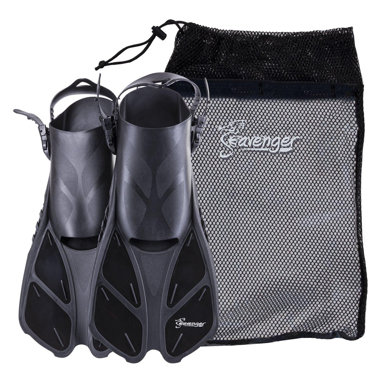 Seavenger Torpedo Swim Fins | Travel Size | Snorkeling Flippers with Mesh Bag for Women, Men and Kids (Black, L/XL) by Seavenger