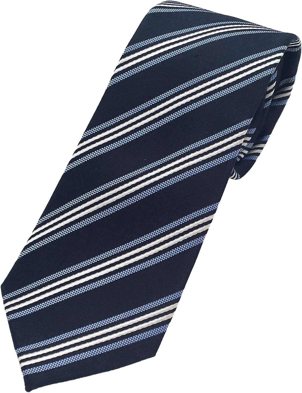 Pietro Baldini Corbata azul rayas gris 100/% seda corbatas de hombre fabricadas artesanal
