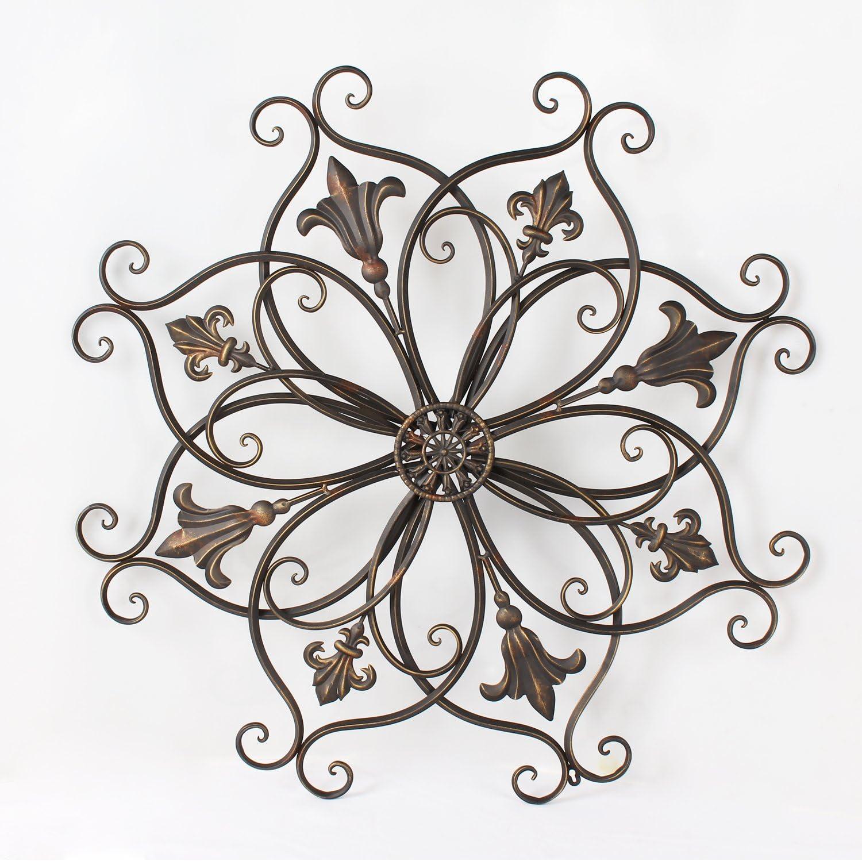 Adeco Decorative Bronze-Color Iron Wall Hanging Decor Widget, Round Fleur-De-Lis Starburst Fleur De Lis Design, Bronze